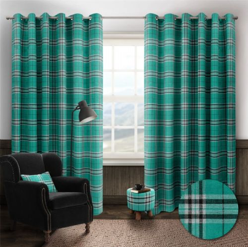 STYLISH TRENDY RINGTOP EYELET LINED HIGHLAND MIST TARTAN CHECK CURTAINS TEAL BLUE COLOUR